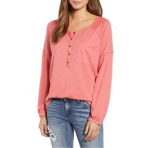 Caslon Henley Long Sleeve Pink Large Coral Tee